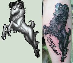 awesome 3d aries tattoo design for leg by cachet w