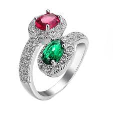 ring size 9 aliexpress buy silver color and green zirkon