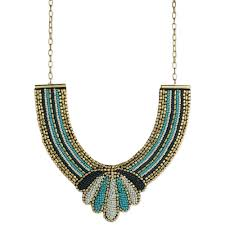 bib necklace gold images Wholesale gold blue beaded bib necklace zad fashion costume jpg