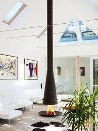colorful interiors interiors contemporary hanging wood fireplace open hearth called