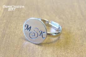 Monogram Rings Silver Stamped Ring Monogram Ring Silver Disc Ring Hand Stamped