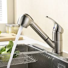 satin nickel kitchen faucet contemporary stainless steel and brushed nickel single handle