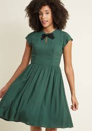 bow front a line dress in pine modcloth