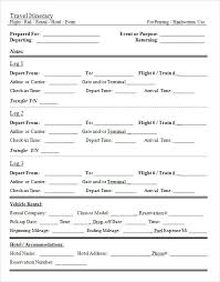 business or personal travel itinerary and schedule fill in