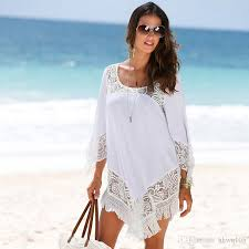 2017 new style women dress white lace chiffon tassels casual beach