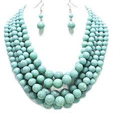turquoise gem necklace images Statement layered strands turquoise stone simulated jpg