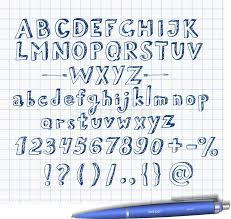 doodle sketch font hand drawn with blue pen stock vector image
