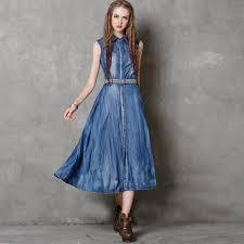 aliexpress com buy 2017 summer new brand blue long denim dress