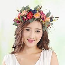 headband floral women wedding big flower wreath crown headband floral garlands