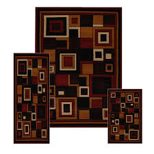 Floor Rug Runners 3 Pc Set Modern Contemporary Geometric Area Rug Runner Accent Mat
