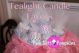 candle baby shower favors tealight candle favors pink glitter pumpkins