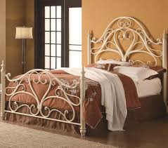 pretty iron headboard queen on bed frame antique vintage style