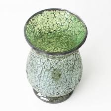 Wholesale Flower Vase 22cm Green Cracked Mosaic Glass Recycled Vase Wholesale Flower