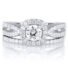 silver wedding ring sets silver set diamond rings wedding promise diamond engagement