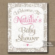 baby shower welcome sign girl baby shower welcome sign white lace pink nifty printables
