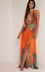 pretty thing dresses alina bright orange tropical print plunge maxi dress dresses