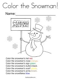 color the snowman coloring page twisty noodle