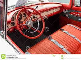 Steering Wheel Upholstery 1955 Ford Dash And Interior Stock Photo Image 59880961