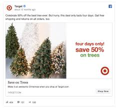 target black friday christmas tree deals 55 facebook ads that get the holiday advertising right