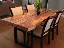 live edge maple dining table maple burl walnut accents and