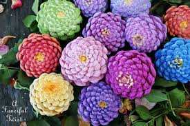 zinnia flowers a fanciful twist let s make zinnia flowers from pine cones
