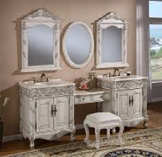Antique Vanity Set Simple And Neat Design Ideas Using Rectangular Brown Wooden