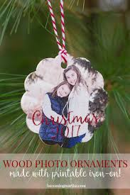 wood photo ornaments made with printable iron on