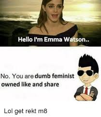 Emma Watson Meme - hello i m emma watson no you are dumb feminist owned like and share