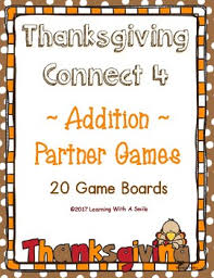 thanksgiving math fluency with a twist connect 4 addition 20
