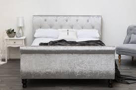 Velvet Sleigh Bed Westminster Silver Crushed Velvet Sleigh Bed King Size