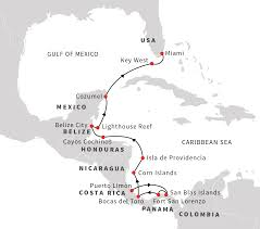Central America And The Caribbean Map by Expedition In The Caribbean Sea Puerto Limon Miami Hurtigruten