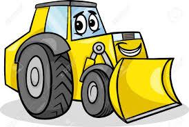 cartoon illustration of funny bulldozer machine comic mascot