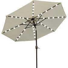 sunrise umbrella u021 270 ecru new 9 u0027 solar 40 led lights patio