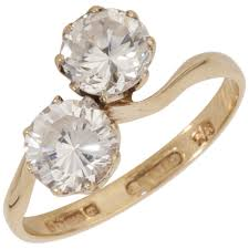 gold engagement rings uk pre owned 9ct yellow gold cubic zirconia 2 twist ring