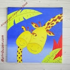 chambre la girafe tableau de la jungle pour la chambre de bébé maman girafe et