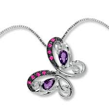 kay jewelers charmed memories kay amethyst necklace lab created pink sapphire sterling silver