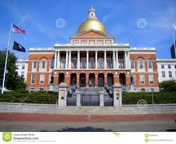 front elevation of massachusetts state house boston editorial