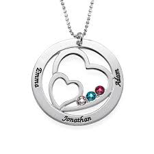 birthstone pendants for heart in heart birthstone necklace for mynamenecklace