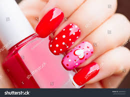 valentine nail art manicure valentines day stock photo 360549923