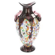 Amethyst Glass Vase Murano Glass Vases Murano Glass Millefiori Amphora Vase Silver