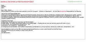 100 application letter for receptionist sample cover letter