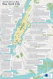 New York City Attractions Map by A Jewish Literary Map Of New York City Read It Forward