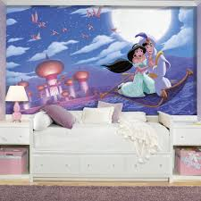 if your home is your castle then these princesses are ready to aladdin a whole new world xl chair rail prepasted mural