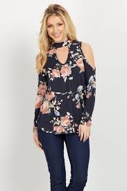 cold shoulder tops black floral choker neck cold shoulder top