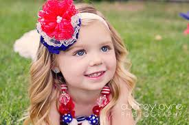 4th of july headband 4th of july lace flower white blue headband