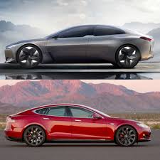tesla outside photo comparison bmw i vision dynamics vs tesla model s
