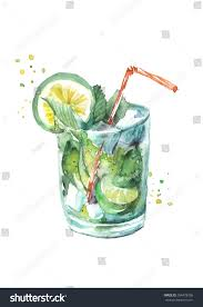 cocktail drawing watercolor drawing cocktail fruits circe lemon stock illustration