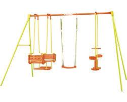 si e balancoire balançoire simple kettler 4 métal avec vis à vis nacelle vert jaune