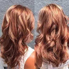 hair hilite lowlite auburn red blonde waves long hair all in a