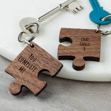 jigsaw wood personalised wooden gift missing jigsaw keyring by create